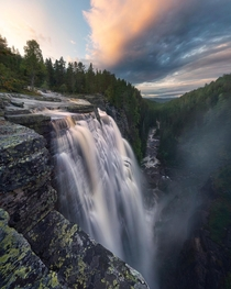 Extreme waterfall power after heavy rain Buskerud Norway