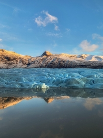 Extremely lucky to witness this marvel glacier during sunset with clear conditions Hornafjrur glacier Iceland