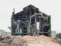 Factory being demolished in Chlons-en-Champagne Marne France