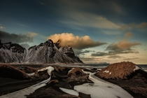 Fading light on Vestrahorn Iceland