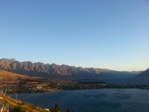 Fading sunlight over The Remarkables Queenstown New Zealand