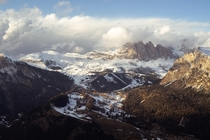 Fading winter as seen from the peaks of Ciampinoi Northern Italy  eespeees