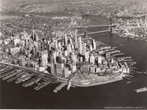 Fairchild Aerial Surveys view of Lower Manhattan New York around