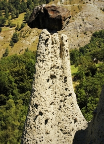 Fairy chimney rock formation part of Pyramides dEuseigne Val dHrens Switzerland