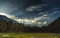 Fairy Meadows and Nanga Parbat m on a starry night  by Yasir Nisar