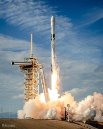 Falcon  lifts off with the Eshail- satellite from Kennedy Space Centers Launch Complex A
