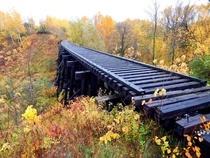 Fall colors and an abandoned railroad trestle in Ashland Wisconsin