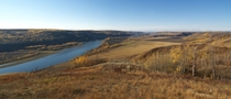 Fall colors and farmland in the Peace River valley northern BC Canada