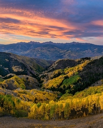 Fall Colors and Sunrise from Beaver Creek Point Colorado