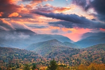 Fall colors during a sunset in Western NC on the Blue Ridge Parkway