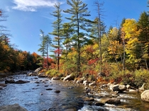 Fall colors look straight out of a wall paper On the sides of Kancamagus Highway NH