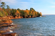 Fall colors on Devils Island Apostle Islands National Lakeshore Wisconsin