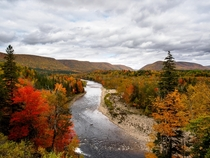 Fall colours of the Margaree Valley in the Cape Breton Highlands Nova Scotia