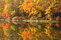 Fall foliage reflecting in Silver Mine Lake along Seven Lakes Drive Harriman State Park NY