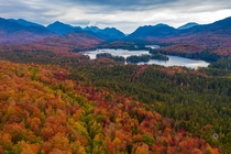 Fall is at its peak in Upstate NY Presenting Adirondack mountains