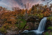 Fall Sunset at Minnehaha Falls