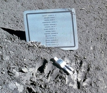 Fallen Astronaut is a  inch tall aluminum sculpture of a human figure was left on the moon in  by Apollo  astronauts