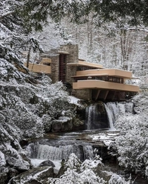 Fallingwater under snow designed by Frank Lloyd Wright in