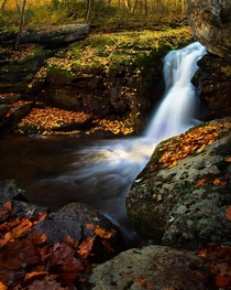 Falls Dressed in Fall Colors - Hazel River Falls - Shenandoah NP Virginia