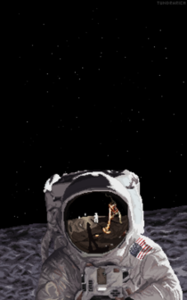 Fan-Art of the famous picture of Buzz Aldrin I hope this is an ok place to put it