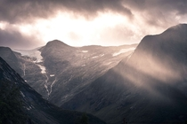 Fantastical light in Norway as clouds opened up to allow this scene to occur Western Norway