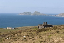 Farm House with Puffin Island in the background co Kerry Ireland