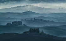 Farmhouse in ruins in the misty Volterras countryside Tuscany  Photo by Maltan Anton xpost from rItalyPhotos