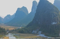 Farms under the karst mountains of Yangshuo Guilin China