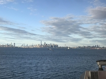 Feel free to zoom in - The entire NYC metropolis skyline starting from Jersey City left Manhattan middle and Brooklyn right Picture was taken from the Staten Island Ferry in the NY Harbor