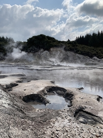 Feeling warm at Hells Gate Geothermal Park Rotorua New Zealand
