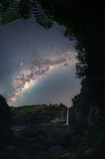 Ferns and the Milky Way over Hunua Falls New Zealand