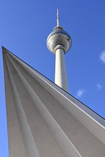 Fernsehturm in Berlin built in  and standing  meters tall It was meant to showcase communist power and act as a TV tower and observation deck