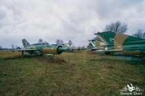 Field of abandoned Soviet Mig- fighter jets Hungary