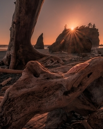 Fiery skies at Ruby Beach Washington