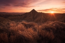 Fiery skies in the desert Bardenas Reales Spain