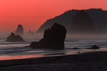 Fiery sky at Cannon Beach Oregon