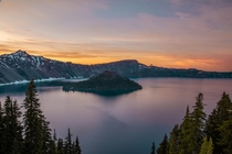 Fiery sunset at Crater Lake OR - forest fires turned the entire sky pinkredorange