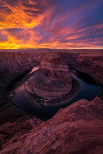 Fiery Sunset over Horseshoe Bend AZ