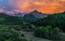 Fiery sunset over Mount Sneffels Colorado