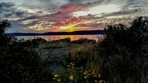 Fiery Sunset over Whidbey Island WA USA