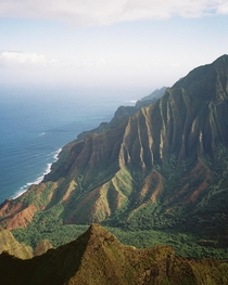 Film photo I took of Kalalau Valley and the Na Pali Coast as viewed from Kalepa Ridge Trail - Kauai Hawaii