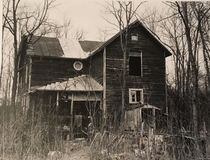 Film photograph of an abandoned house