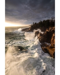 Finally Big surf and an incoming high tide lined up with the sunrise along the coast of Acadia National Park Single exposure