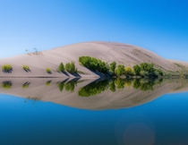 Finally there was no wind and water was still to capture the reflection at Bruneau Sand Dunes state park