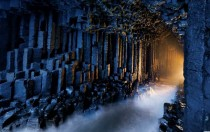 Fingals Cave in Scotland formed entirely from hexagonally jointed basalt columns