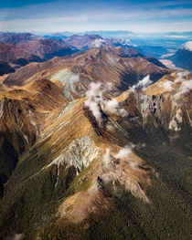 Fiordland New Zealand from a light aircraft