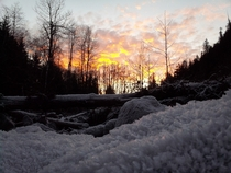Fire and Ice Sunrise near the Middle Fork of the Nooksack River-WA state x