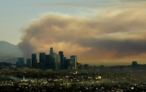 Fire behind Downtown Los Angeles
