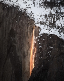 Fire Falls Hiked all day up a snow bank for this Yosemite National Park USA