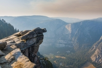 Fire haze over Glacier Point in Yosemite Valley CA